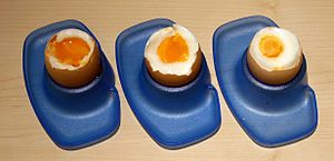Boiled eggs. Boiling time from left to right: ...