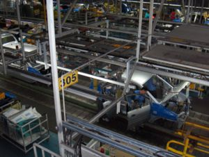 Assembly line at Hyundai Motor Company's car f...